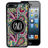 MONOGRAMMED CASE FOR iPHONE XR XS MAX X 8 7 6 PLUS RUBBER BLACK PINK PAISLEY