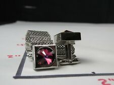Sanitized Rhinestone Sterling Silver Cuff Links Pair
