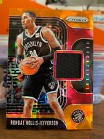 Rondae Hollis-Jefferson 2019-20 Panini Prizm Orange Ice GAME WORN Jersey Relic