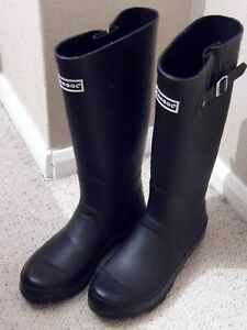 KANGOL ladies Tall Adjustable Wellies Wellington Boots Black - Size 5 / 38