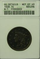 1838 N-1 Coronet Head Large Cent ANACS AU Details NICE!! * US Coin #2776