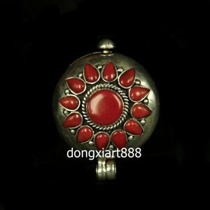 Tibetan Pure silver inlay coral niche for a statue of the Buddha shrine Pendants