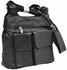 Black Womens Leather Purse Handbag With Cell Phone Clutch Ladies Shoulder Bag