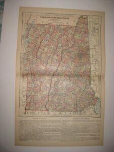 LARGE SUPERB ANTIQUE 1884 VERMONT NEW HAMPSHIRE MAP RAILROAD LIGHTHOUSE FINE NR