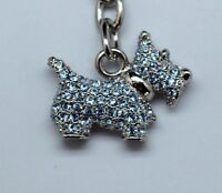 Blue Scottish Terrier Key Chain made with Swarovski Crystals