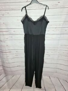 SUPRE womens silky lace trim strappy jumpsuit black size 14 evening cocktails
