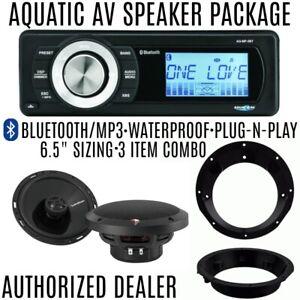 "Aquatic AV Bluetooth 5BT Radio Rockford Fosgate P1650 6.5"" Speaker Package 98-13"