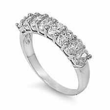 18K White Gold GP Half Eternity Simulated Diamond Size 8 Wedding Band Ring