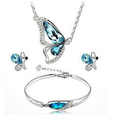 Delicate Women Crystal Jewelry Set Butterfly Necklace + Earring  +Bracelet Gift