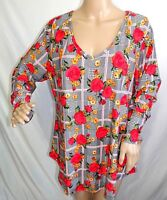 Forbidden Society Women Plus Size 1x 2x 3x Floral Red Green Tunic Top Blouse