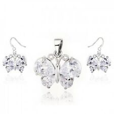 18K WHITE GOLD PLATED GENUINE CUBIC ZIRCONIA BUTTERFLY NECKLACE & EARRING SET