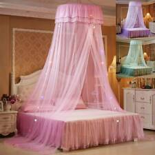 Lace LED Light Princess Dome Mosquito Net Mesh Bed Canopy Bedroom Home Decor