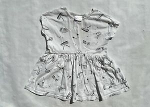 Hanna Andersson girl's 100 US 4 white musical instrument Organic Cotton dress