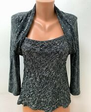 JOSEPH RIBKOFF size UK 18 Blouse Top Grey Embellished Embroidered Sequined
