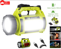 Linterna LED recargable para acampar, 1000LM, 5 modos luz, banco energía 3600mAh