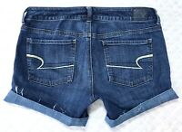 American Eagle Midi Blue Low Rise Super Stretch Womens Denim Jean Shorts size 10