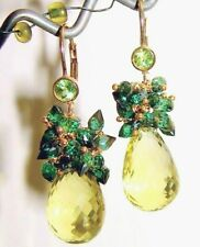 14k Gold GF Lemon Topaz Green Quartz Peridot Gemstone Briolette Earrings