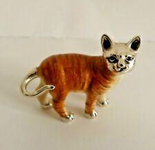 More details for saturno silver and enamel cat, medium , italian