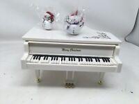 White Grand Player Piano Music Box - Christmas Music - Holiday Decor