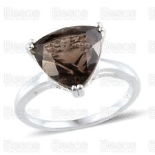 4.5ct SMOKY QUARTZ gemstone SOLITAIRE RING UK size O SOLID STERLING SILVER 925
