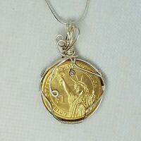 Patriotic Statue of Liberty Coin Wire Wrapped Pendant - Silver Plated Wire Wrap