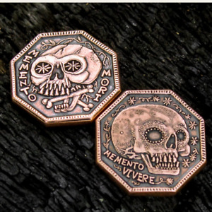 Memento Mori - Memento Vivere 1/2 oz Copper USA Antiqued Octagon Reminder Coin