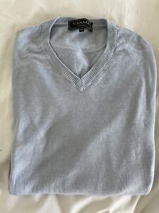 CANALI exclusive Mens Pale Blue Extrafine Knit V-Neck Jumper (size 50)
