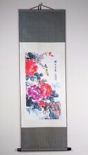"Original Chinese Art Painting Fabric Canvas Flowers Scene Wall Scroll 18"" x 54"""