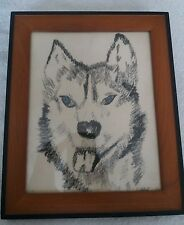 "Native American Art Artwork Wolf Chalk ""Liggy"" (lot118)"