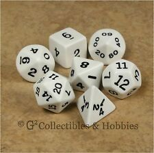 NEW 7pc Opaque White Polyhedral Dice Set in Tube RPG Game D&D 7 Piece D20 D12 +