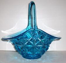 VTG SIGNED INDIANA BLUE GLASS MONTICELLO APPLIED HANDLE BASKET BOWL - MINT!