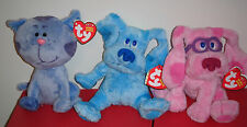 Ty Beanie Baby Set ~ Blues Clues ~ BLUE, MAGENTA & PERIWINKLE (6.5 Inch) MWMT'S