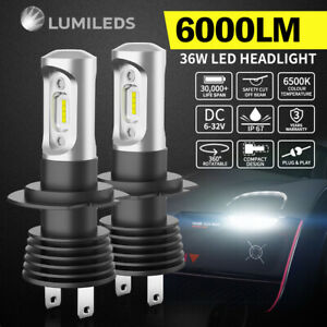 2x Philips LED Headlight Kit H7 6000LM High/Low Beam Replace Xenon Halogen Globe