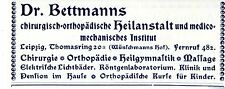 Dr. Bettmann Leipzig Chirugie Orthopädie Heilgymnastik Historische Annonce 1914
