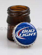 1 Small Brown Upcycled Glass Stash Jar - From a Recycled Twist Off Beer Bottle