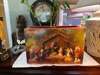 Vintage Christmas Nativity Set 11 Pieces Ceramic PRISTINE Shape Complete