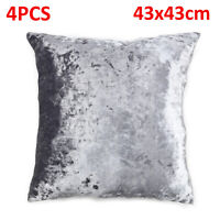 Cushions luxurious Set of 4 Silver & Grey diamante Sparkle Crushed Velvet  Cover