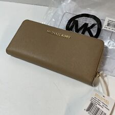 NWT New Michael Kors Jet Set Large Travel Continental Wallet Leather Dark Khaki