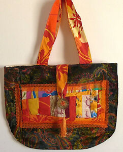 Bag Cotton Lace velvet Purse Handmade Quilted13x17nch Pocket 2 Handes Multicolor
