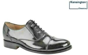 Mens Kensington ALL LEATHER Capped Oxford Lace Up Shoes Black HI SHINE Size 6-12