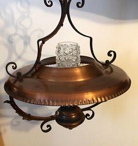 Vintage bronze spun brass / copper ceiling hanging light pendant lamp