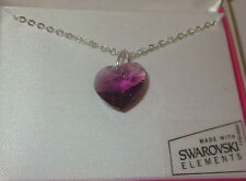 """Purple Crystal Heart Necklace New 18"""" Silver Tone Chain Made with Swarovski"""