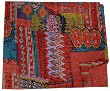 Indian Handmade Kantha Orange Ikat Cotton Quilt Queen Bedspread Blanket Throw