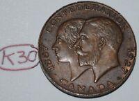 Canada 1867 - 1927 Confederation Medal - Token Lot #K30