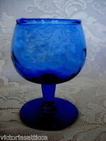 Collectible Vintage Cobalt Blue Blown Swirled Glass Cordial/Brandy Goblet