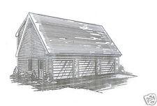 38x26 3 Car Garage w/Dmd Loft Building Blueprint Plans