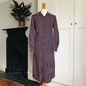 Vintage 70s Navy Blue Red Abstract Eye Print Long Sleeve Pleated Shirt Dress 12