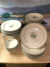 Royal Copenhagen 28 Pc Dinnerware Porcelain Green Gron Melodi Ferns Plates Lot