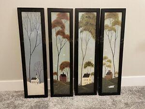 WARREN KIMBLE FOUR SEASONS FOLK ART Summer Fall Winter Spring Distressed Frame