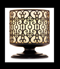BATH & BODY WORKS 3-WICK DARK BROWN METAL PEDESTAL ORNATE HEART CANDLE HOLDER